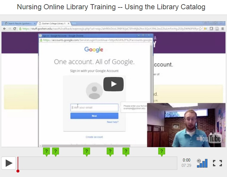 Nursing Online Library Training -- Using the Library Catalog